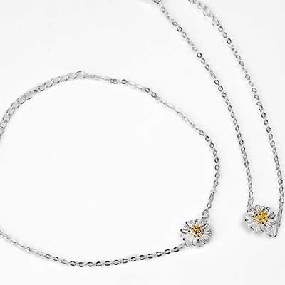 Silver Daisy Anklet