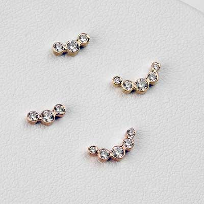 14K Gold CZ Cluster Threadless End