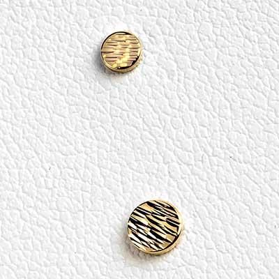 14K Gold Round Diamond Cut Disc Threadless End
