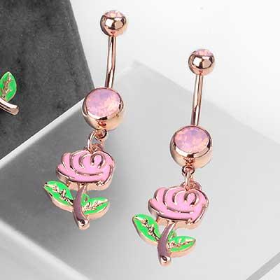 Pink Rose Dangle Navel