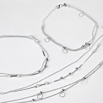 Silver Dual Chain Anklet