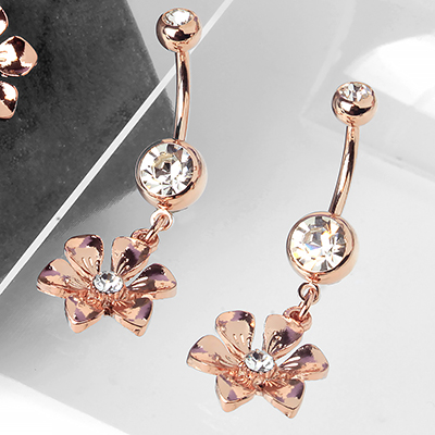 Rose Gold Petunia Dangle Navel
