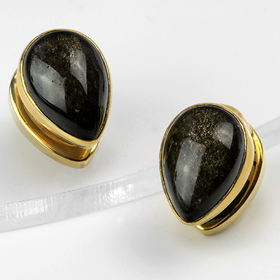 Solid Brass Mini Spade Weights with Golden Obsidian