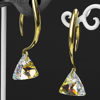 AB Swarovski Triangle Crystal Design with Brass Hooks