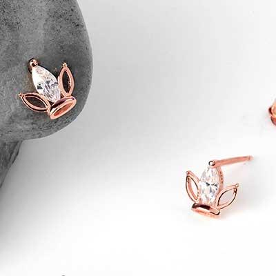 Lotus Gem Stud Earrings