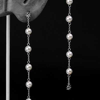 Falling Star Pearl Dangle Earrings