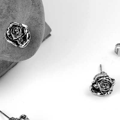 Memento Mori Rose Stud Earrings