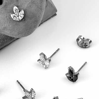 Gemmed Fern Stud Earrings