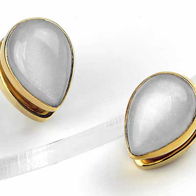 Solid Brass Spade Weights with Moonstone
