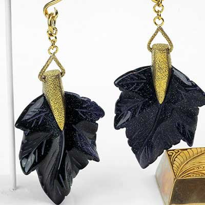 Solid Brass and Blue Goldstone Maple Leaf Weights