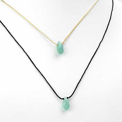 Silk and Aventurine Teardrop Necklace