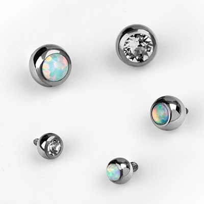 Titanium Internally Threaded Gemmed Balls