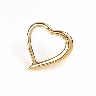 14K Gold Heart Shaped Clicker Ring