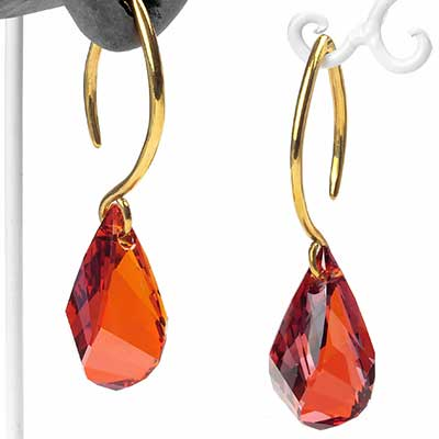 Red Swarovski Teardrop Crystal Design with Brass Hooks