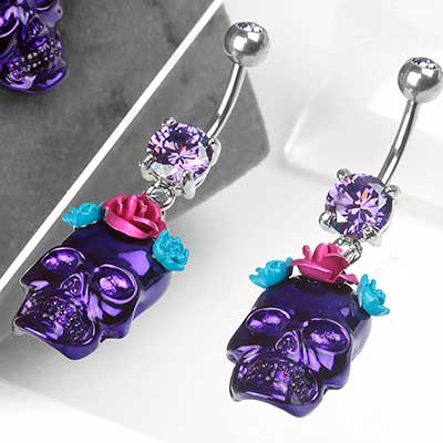 Flower Crown Skull Dangle Navel