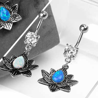 Opal Lotus Dangle Navel