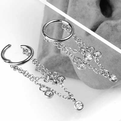 Dangle Chain and Gem Clicker Ring