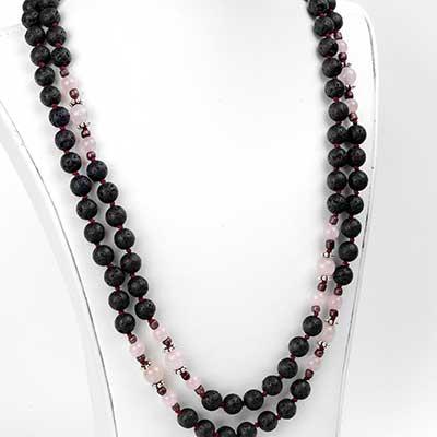 Lava and Rose Quartz Mala Necklace