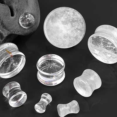 Double Flare Rock Crystal Plugs