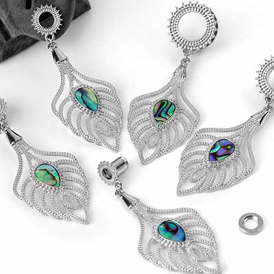 Falling Leaf Eyelets with Abalone Shell