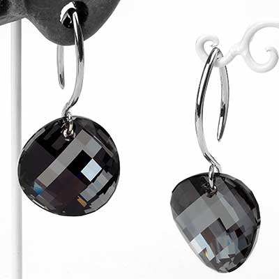 Swarovski Black Diamond Design with White Brass Hooks