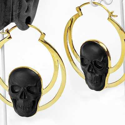 Solid Brass and Black Onyx Skull Eclipse Weights