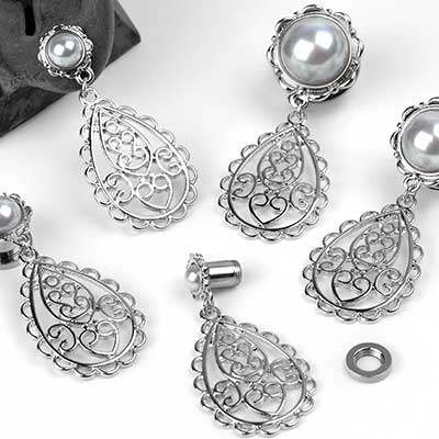 Filigree Dangle Plugs with Faux Pearl