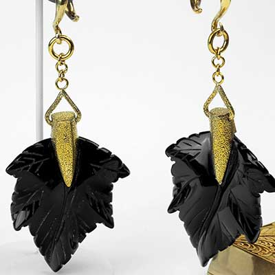 Solid Brass and Black Obsidian Leaf Weights