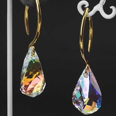 AB Swarovski Drop Crystal with Brass Hooks