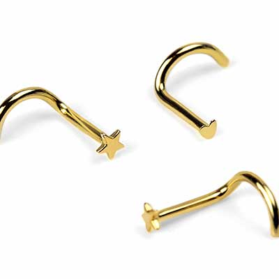 14k Gold Star and Heart Nosescrews