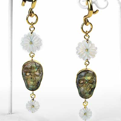 Labradorite Skull and Mother of Pearl Brass Dangle Weights