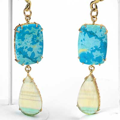 Solid Brass with Turquoise and Fluorite Jollie Weights