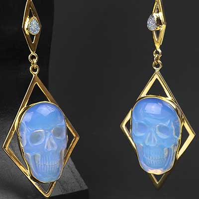 Solid Brass and Opalite Skull Weights