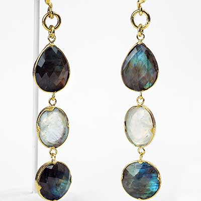 Faceted Labradorite and Rainbow Moonstone Dangle Weights