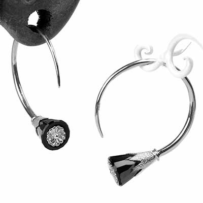 Sterling Silver Tsabit Design with Black Glass Flowers