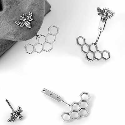 Honey Bee Stud and Earring Jackets