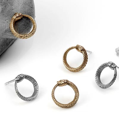 Silver Ouroboros Stud Earrings