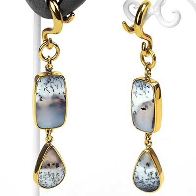 Solid Brass and Dendritic Opal Dangle Weights