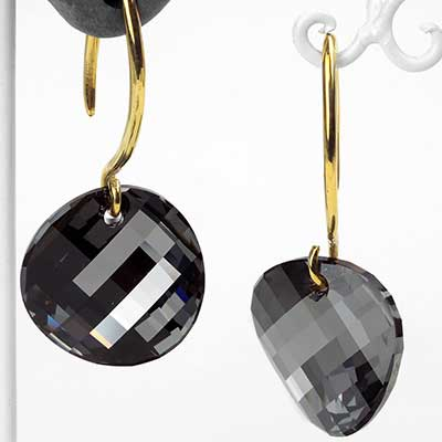 Swarovski Black Diamond Design with Brass Hooks