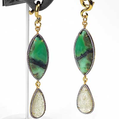 Gold Vermeil with Chrysoprase and Rutilated Quartz Weights