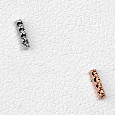 Solid 14k Gold Studded Rail Threadless End