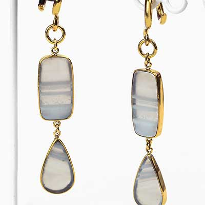 Solid Brass and White Agate Dangle Weights