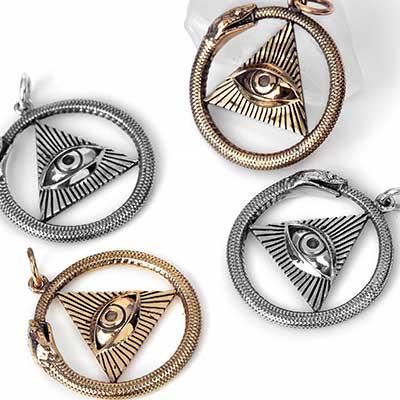 All Seeing Eye and Ouroboros Pendant