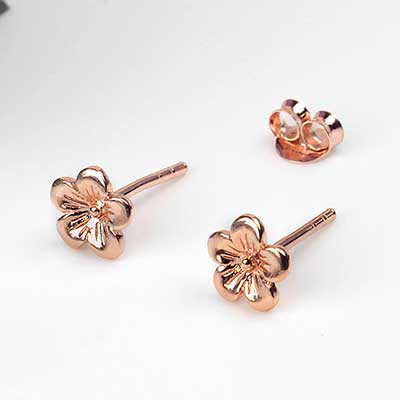Rose Gold Cherry Blossom Earrings