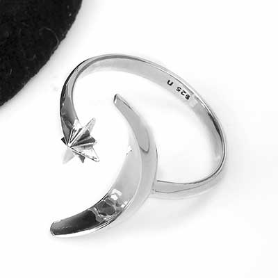 Silver Adjustable Moon and Star Ring