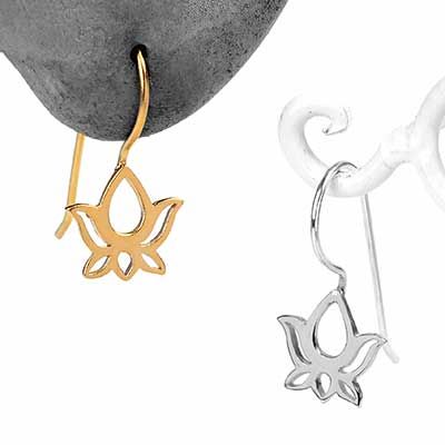 Lotus Silhouette Ear Hooks
