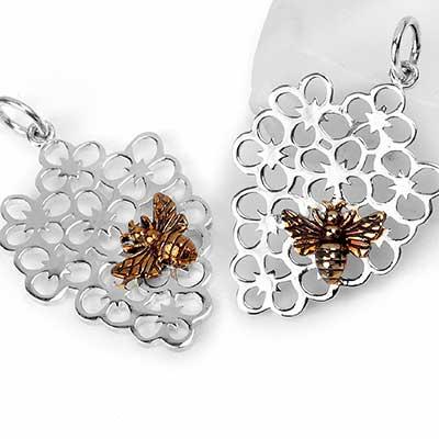 Silver Bee Bouquet Pendant