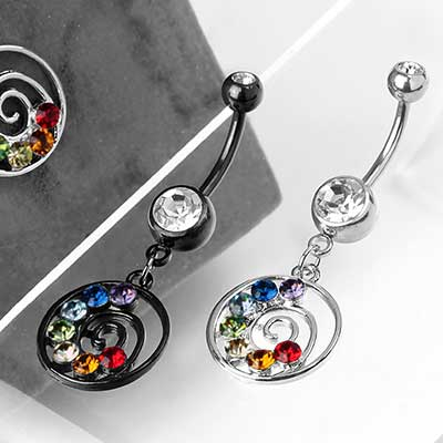 Chakra Swirl Dangle Navel