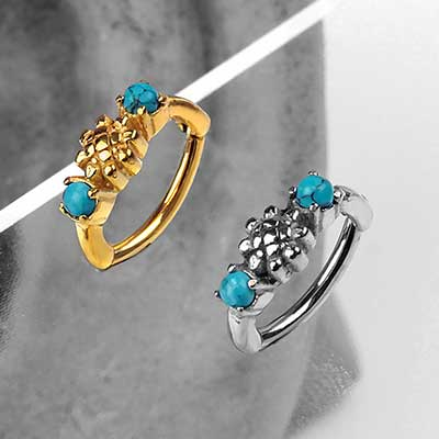 Turquoise Sunflower Clicker Ring