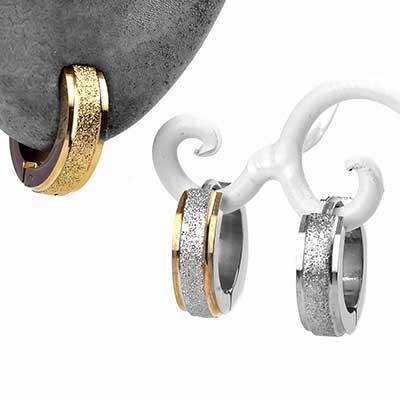 Sandblasted Sparkle Huggie Earring